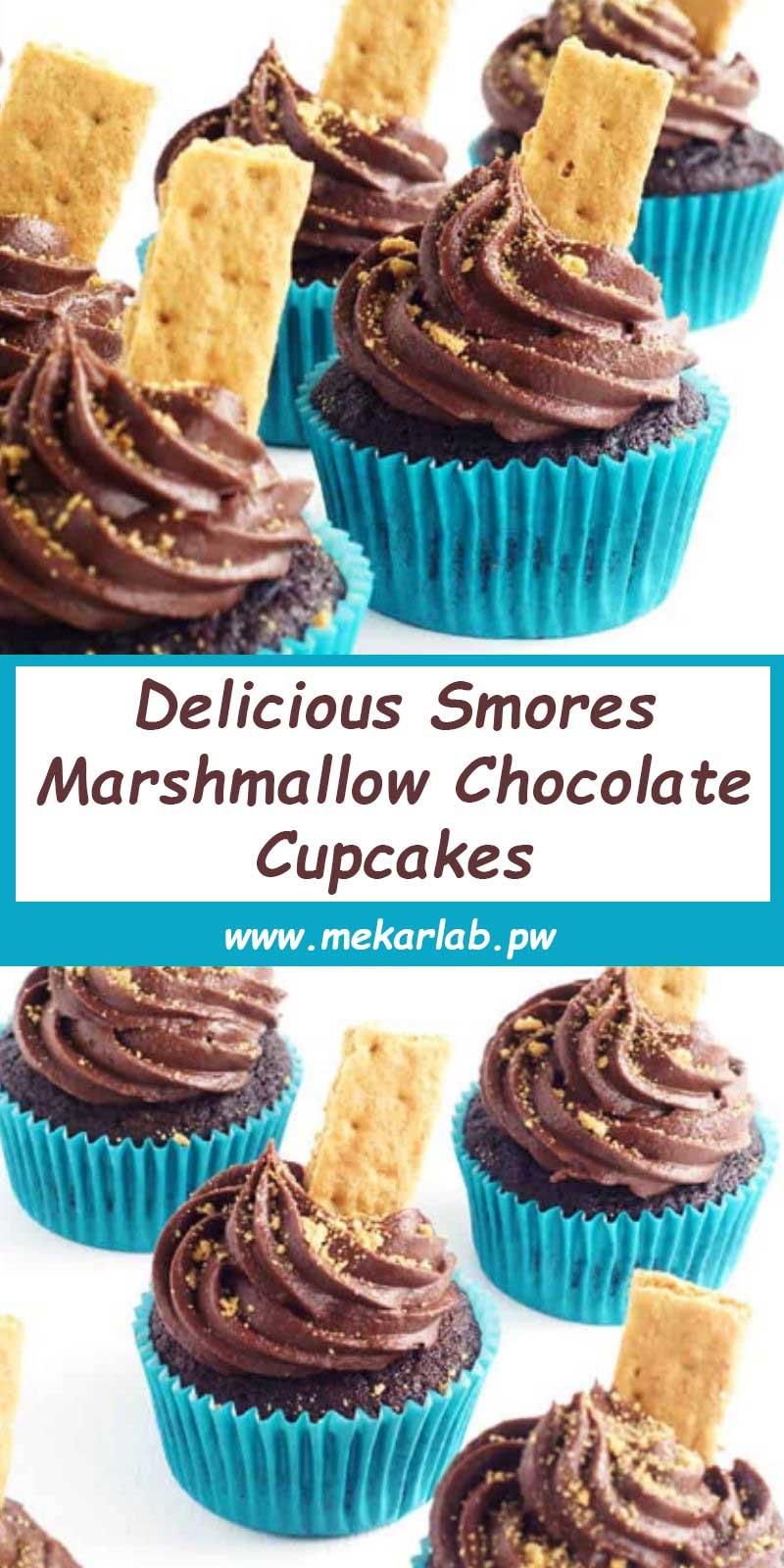 Delicious Smores Marshmallow Chocolate Cupcakes