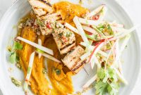 Grilled Tofu Skewers with Carrot Puree and Apple Sticks